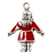 Red Santa Claus 3D Sterling Silver & Enamel Charm